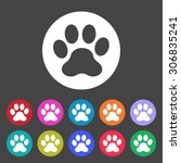 paw icon. set of colored icons. | Shutterstock .eps vector #306835241
