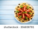 pasta with meat  tomato sauce... | Shutterstock . vector #306838781