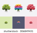 abstract geometric vivid pixel... | Shutterstock .eps vector #306849431