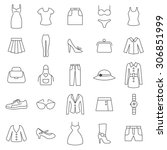 women clothing line icons.vector | Shutterstock .eps vector #306851999