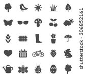 spring black icons set.vector