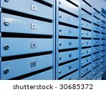 metal postboxes  toned in blue    Shutterstock . vector #30685372