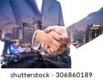 double exposure of handshake