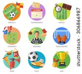 soccer and football flat icon... | Shutterstock .eps vector #306866987