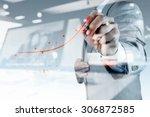 double exposure of businessman... | Shutterstock . vector #306872585