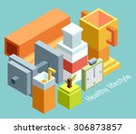 isometric vector illustration... | Shutterstock .eps vector #306873857