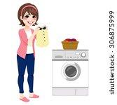 beautiful happy young brunette... | Shutterstock .eps vector #306875999