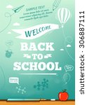 back to school poster ... | Shutterstock .eps vector #306887111