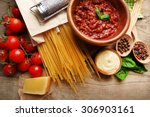 pasta spaghetti with tomatoes ... | Shutterstock . vector #306903161