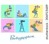 set photographer camera... | Shutterstock .eps vector #306915689