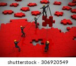 red jigsaw puzzle being built... | Shutterstock . vector #306920549