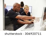 engineers using cad system in... | Shutterstock . vector #306920711