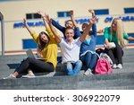 group portrait  of happy ... | Shutterstock . vector #306922079