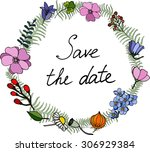 field flowers  berries and leafs | Shutterstock .eps vector #306929384