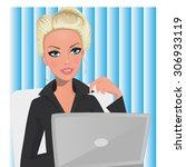 a woman in an office setting | Shutterstock . vector #306933119