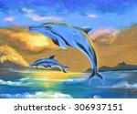 Dolphin In The Sea Oil Paintin...