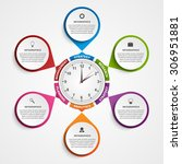 abstract infographic with clock ...