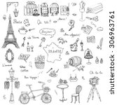set of hand drawn french icons  ... | Shutterstock .eps vector #306963761