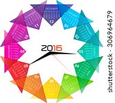 2016 calendar with clock... | Shutterstock .eps vector #306964679