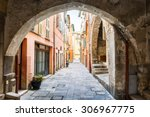 Narrow Cobblestone Street With...