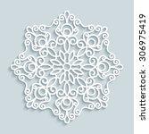 paper lace doily  decorative... | Shutterstock .eps vector #306975419