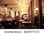 blurred background in restaurant | Shutterstock . vector #306977171