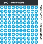 furniture 100 icons universal... | Shutterstock .eps vector #306986057