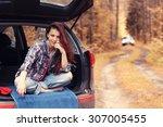 Girl Autumn Trip By Car