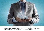 close up of businessman hands... | Shutterstock . vector #307012274