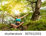 relaxed woman enjoying freedom... | Shutterstock . vector #307012331