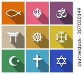 World religion symbols flat set with christian, Jewish, Islam etc