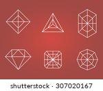 set of flat diamonds icons.... | Shutterstock .eps vector #307020167