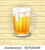 vector beer mug glass on wooden ... | Shutterstock .eps vector #307020659