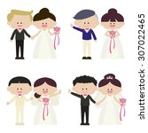 illustration of groom and... | Shutterstock .eps vector #307022465