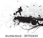 a boy play football in grunge... | Shutterstock .eps vector #30702634