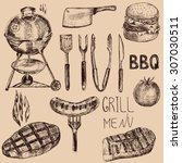set of and drawn barbecue... | Shutterstock .eps vector #307030511