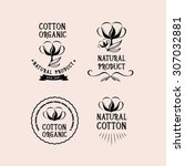 cotton badges design  organic... | Shutterstock .eps vector #307032881