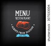 seafood menu and badges design... | Shutterstock .eps vector #307033004