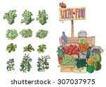 vendor of locally grown produce ... | Shutterstock .eps vector #307037975