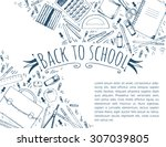 hand drawn seamless pattern... | Shutterstock .eps vector #307039805