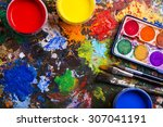 desk of an artist with... | Shutterstock . vector #307041191