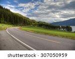 beautiful road in norwegian... | Shutterstock . vector #307050959