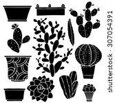 Cacti Hand Drawn Black...