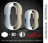 alphabet in chrome graphic... | Shutterstock .eps vector #307055411
