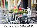 tables of a parisian outdoor... | Shutterstock . vector #307068755