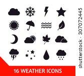 vector set of sixteen weather... | Shutterstock .eps vector #307072445