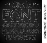 chalk thin hand font  upper... | Shutterstock .eps vector #307072829