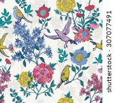 floral style pattern with birds ... | Shutterstock .eps vector #307077491