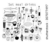 graphic set of food and drink... | Shutterstock .eps vector #307077497
