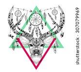 detailed deer in aztec style | Shutterstock .eps vector #307079969